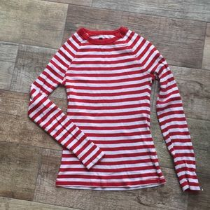 Gap Red and White Striped T-Shirt with Buttons